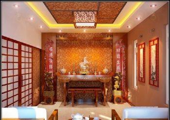Mẫu thiết kế phòng thờ gia đình với những họa tiết sắc đỏ nổi bật