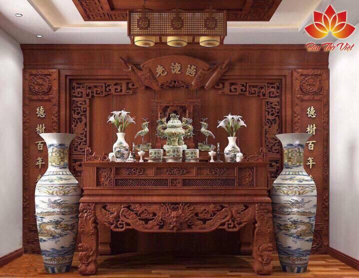 Mẫu nội thất phòng thờ ở Vinh mang đậm chất Á Đông