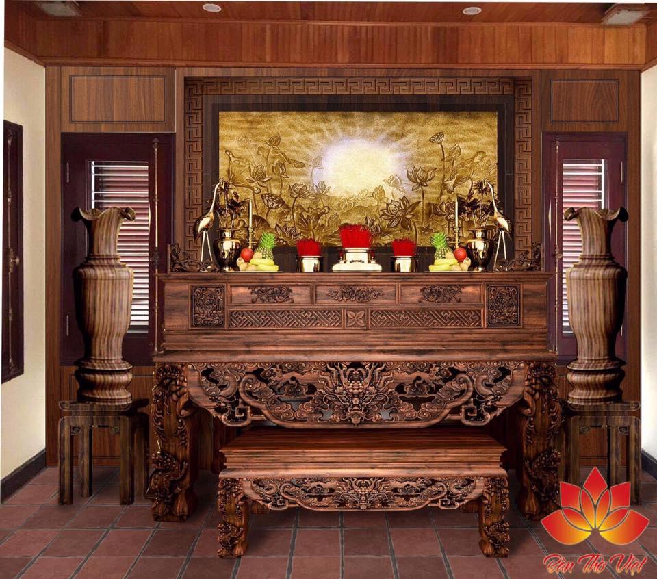 Các mẫu thiết kế phòng thờ giữa nhà đẹp và hợp phong thủy 1