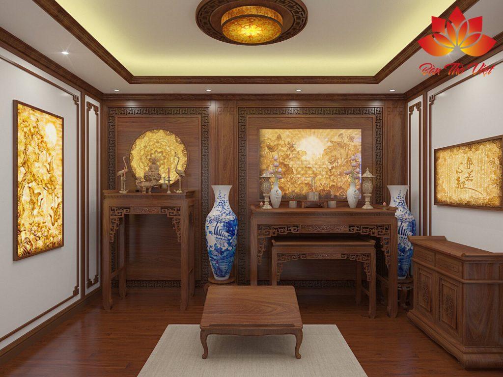Mẫu phòng thờ khách hàng ở Hà Nội được thiết kế với tông màu sáng làm chủ đạo
