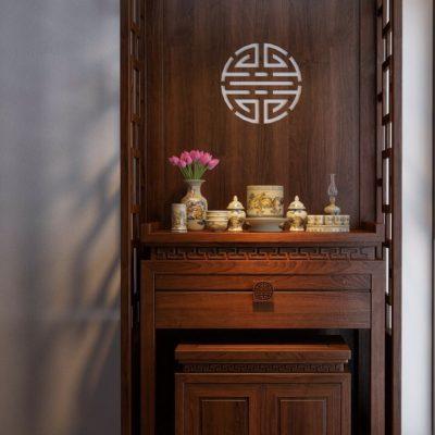 Mẫu thiết kế nội thất phòng thờ Mê Linh đẹp