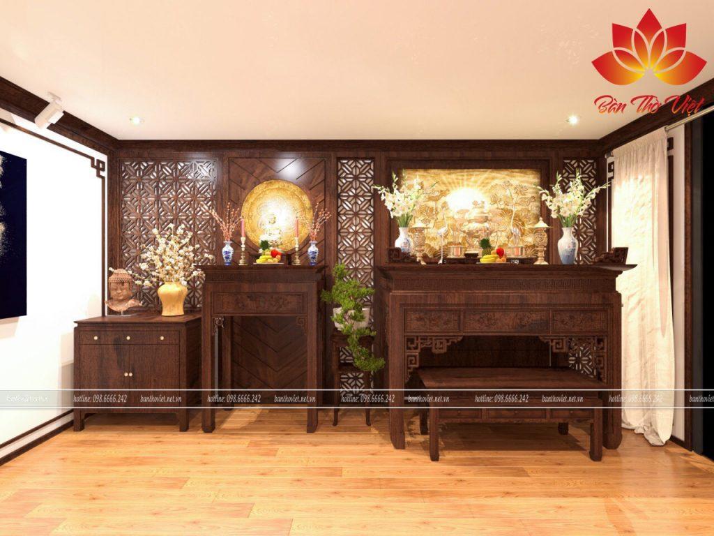 Mẫu thiết kế thi công nội thất phòng thờ mang phong cách cổ điển