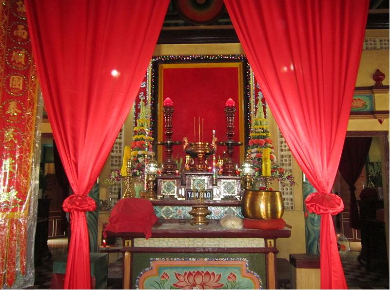 Mẫu rèm phòng thờ bằng vải