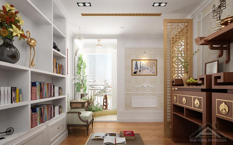 Một dạng phòng thờ liên thông với phòng khách dành cho các chung cư hiện đại. Tone màu óc chó trầm, thanh lịch gợi cảm hứng trang trọng cho không gian thờ tự