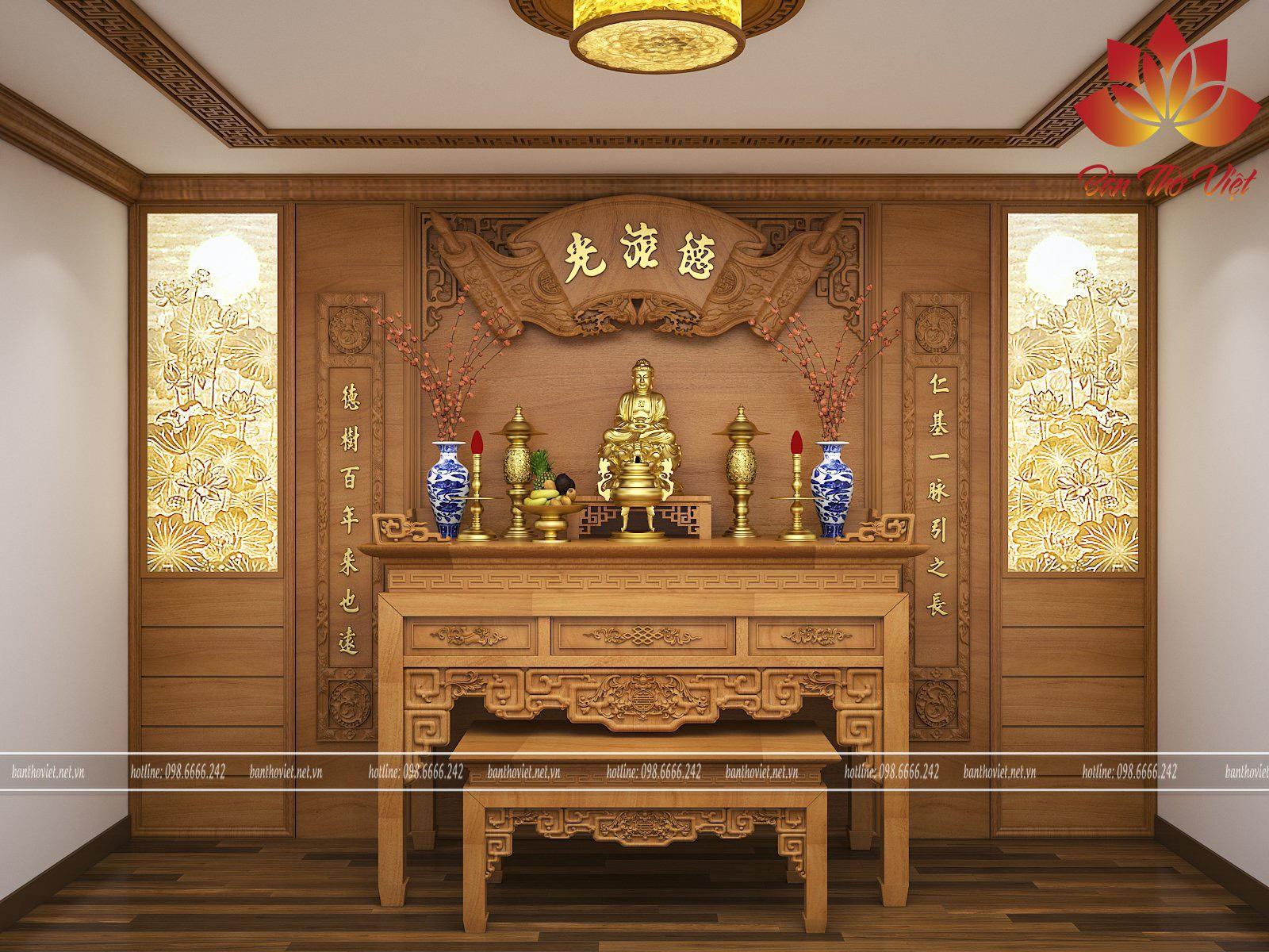 Màu sắc của bàn thờ nên được lựa chọn sao cho phù hợp với tổng thể không gian phòng khách