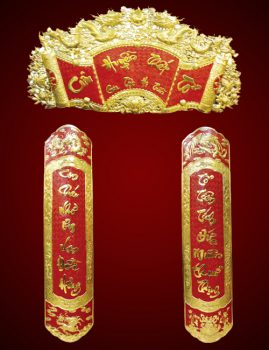 Các mẫu liễn treo bàn thờ bằng gỗ, đồng đẹp nhất hiện nay