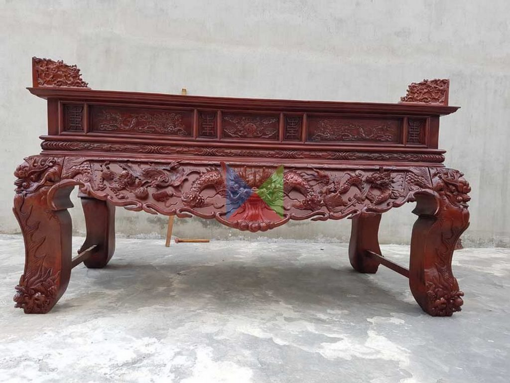 Sập thờ chân quỳ Tứ Linh, Hổ Phù mẫu mã mới nhất 2021